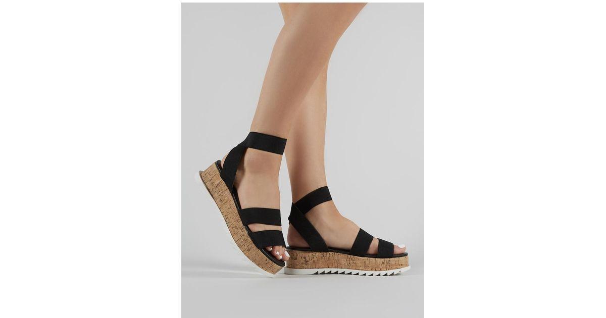 49c1c88808d5 Lyst - Public Desire Cassie Elasticated Strappy Flatform Sandals In Black  in Black
