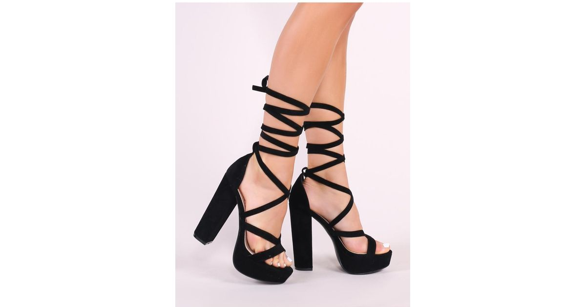 6463e4f26c26e Public Desire Stella Lace Up Heels In Black Faux Suede in Black - Lyst