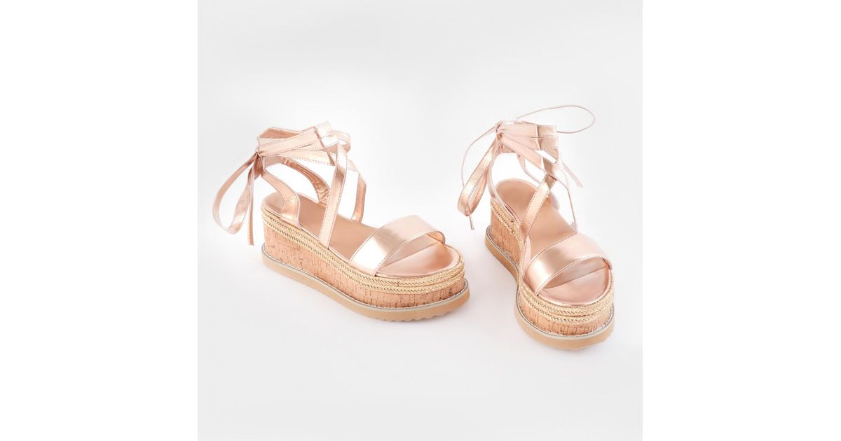 8be6d8f0bd45 Lyst - Public Desire Fresca Lace Up Sandal In Rose Gold in Pink