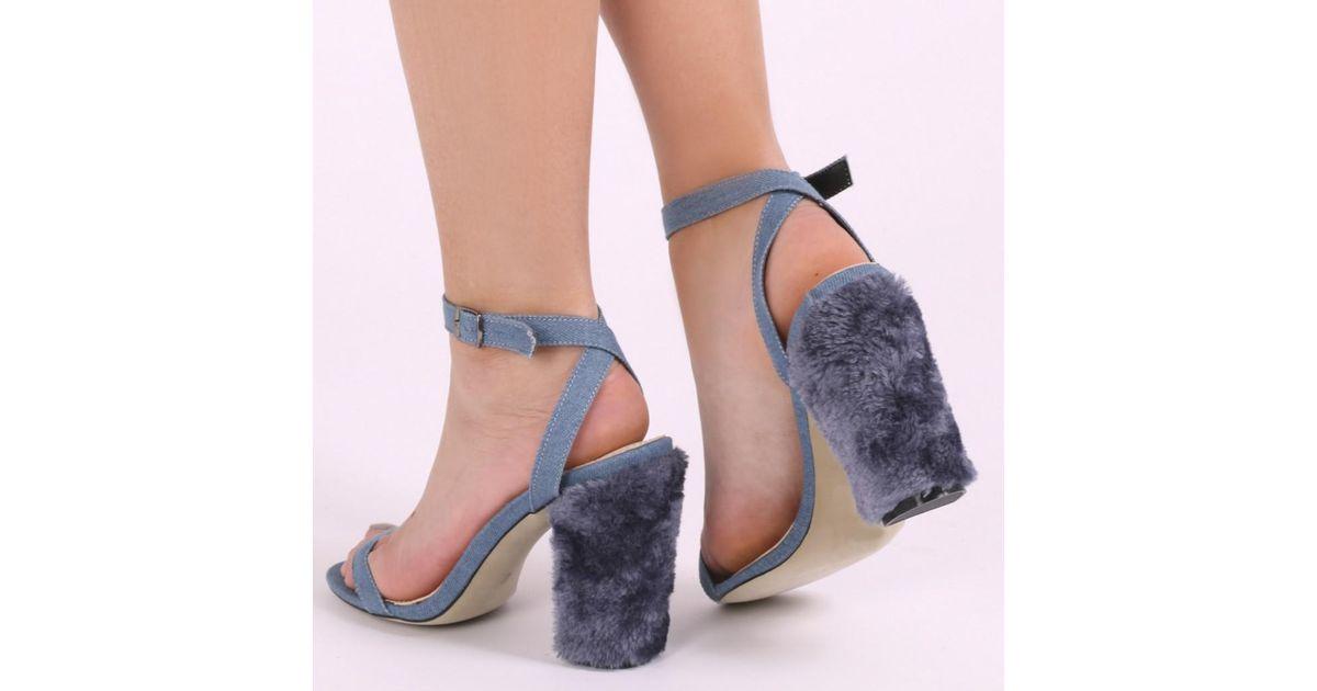 7a1a270edd8 Public Desire Blue Jayde Barely There Faux Fur Block Heels In Denim