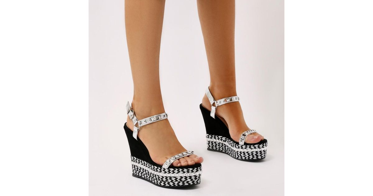 a72bd74d3e2 Lyst - Public Desire Sherry Braided Platform Wedges In Silver in Metallic