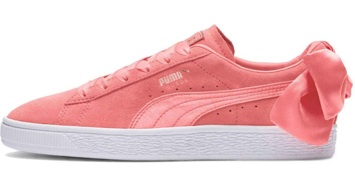 wholesale dealer 9027a 2554a PUMA Pink Suede Women's Bow Sneakers