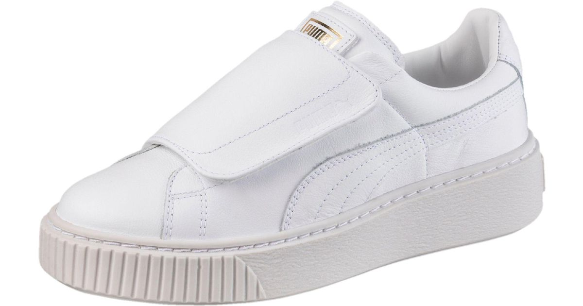96f4ab3f8cd9 Lyst - PUMA Basket Platform Big Strap Women s Sneakers in White