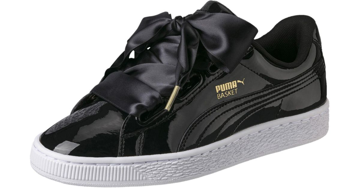 PUMA Black Basket Heart Patent Wn's Low-top Sneakers