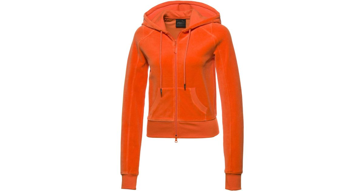 35007756f89e Lyst - PUMA Fenty Women s Velour Fitted Zip-up Track Jacket in Orange