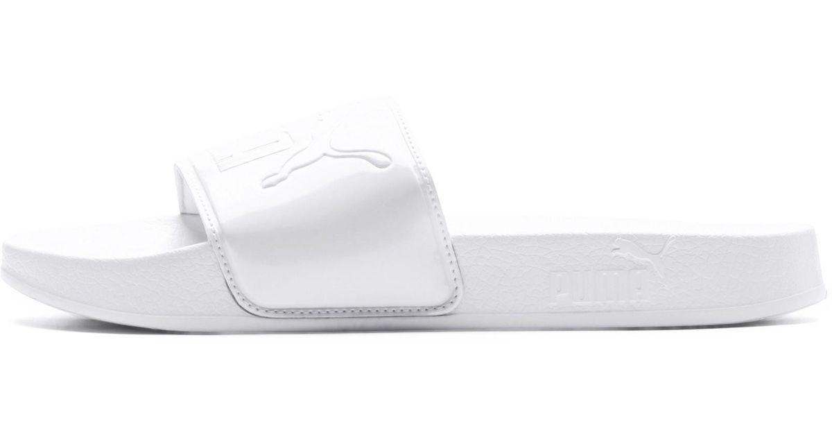 dd49f3c2eff6 Lyst - PUMA Leadcat Patent Slide Sandals in White