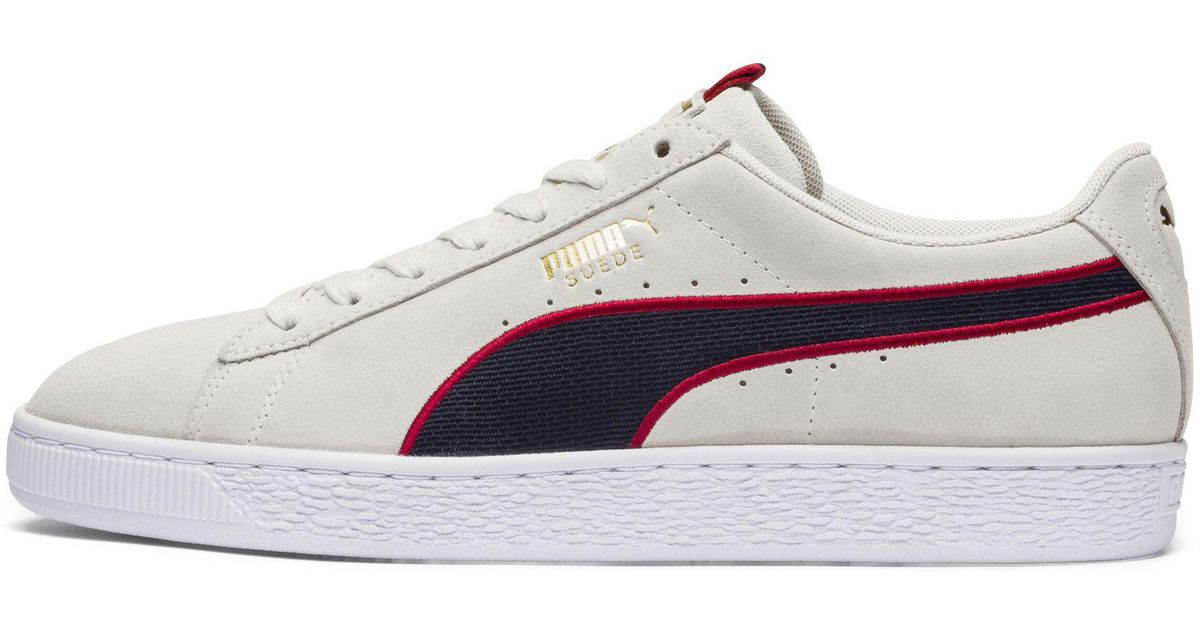 PUMA Suede Classic Sport Stripes White & Red Shoes
