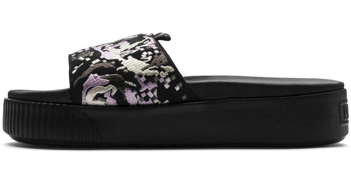 6eeb275fff2f Lyst - PUMA Platform Slide Digital Embroidery Women s Sandals in Black