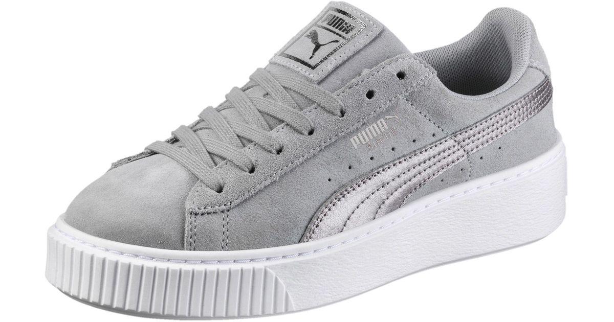 PUMA Gray Suede Platform Metallic Safari Women's Sneakers