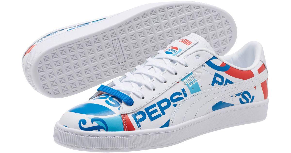PUMA Leather Basket X Pepsi in White