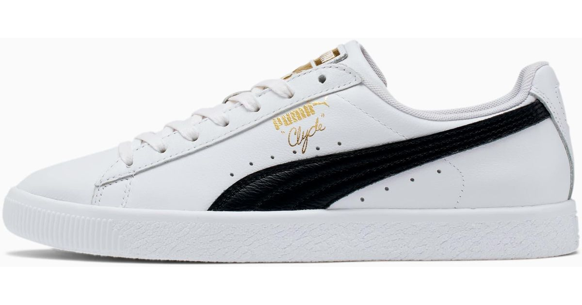 PUMA Clyde Core Foil Sneakers in White