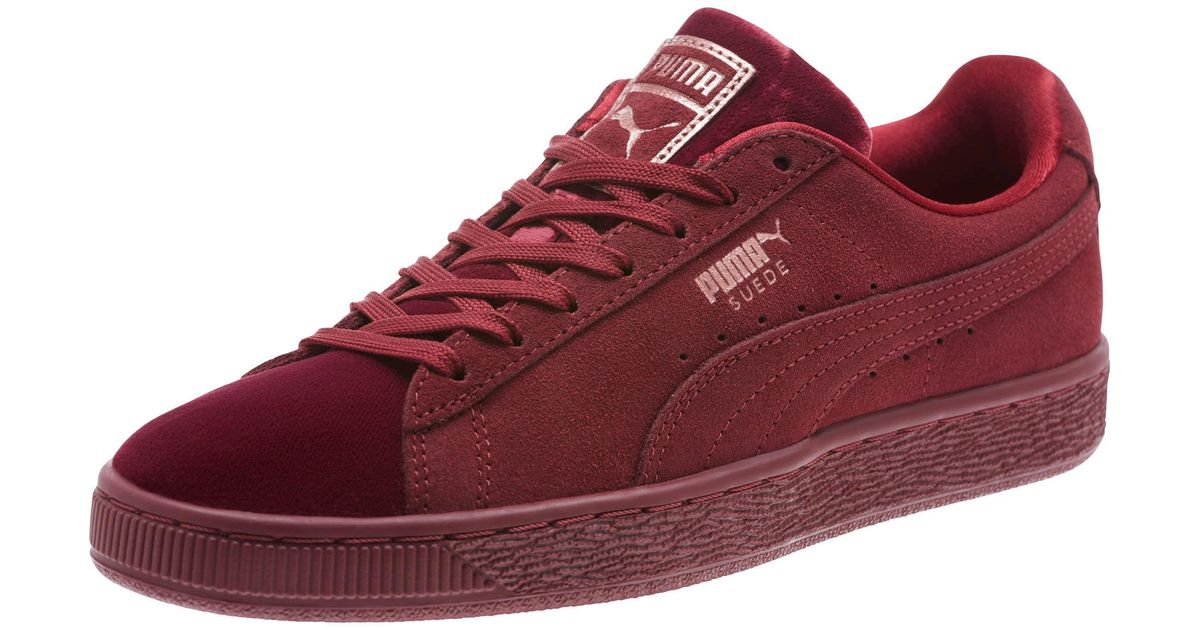 premium selection d66a7 678a7 PUMA Red Suede Classic Velvet Women's Sneakers