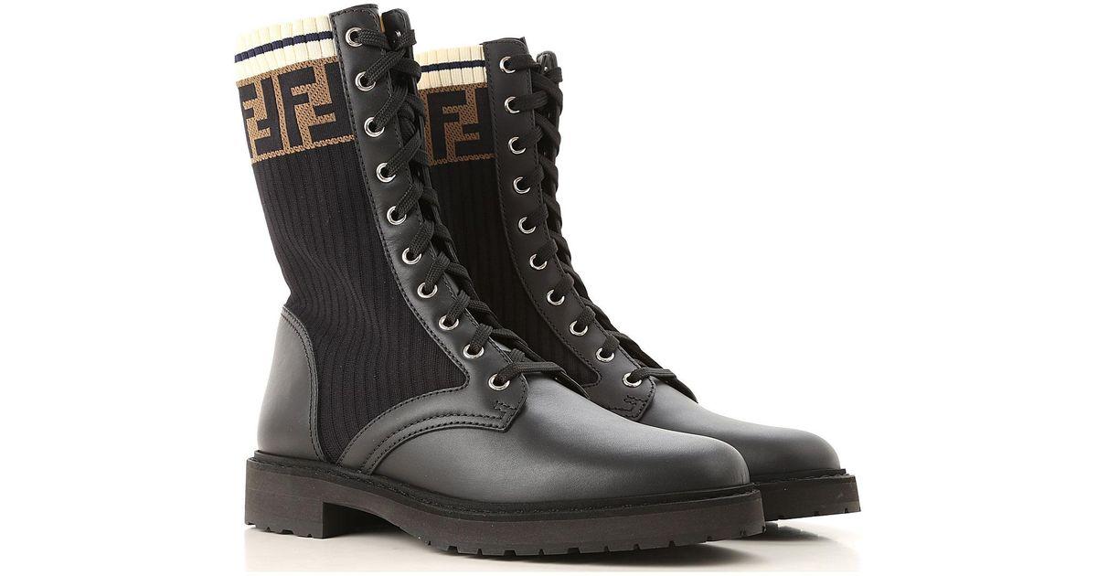 bf81acfa Fendi Black Rockoko Combat Boots