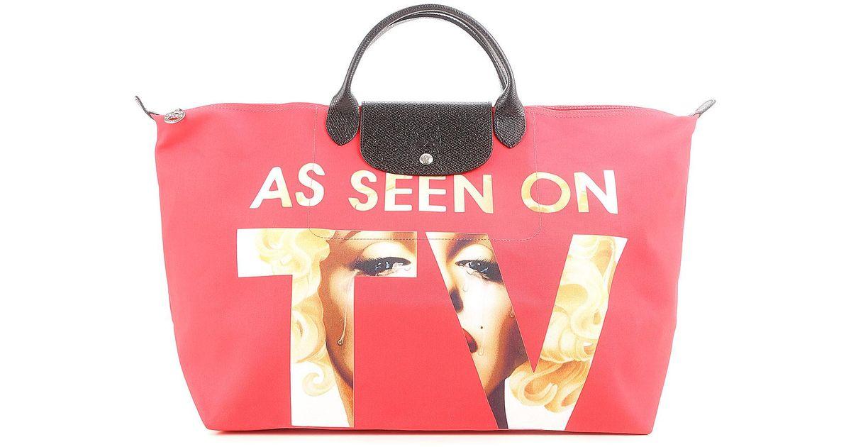 Red Vendita Longchamp Tote Lyst In Bag Owgwv