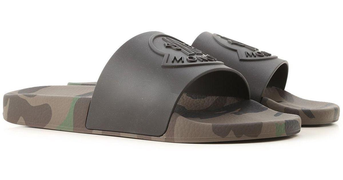Moncler Flip Flops For Men in Black for
