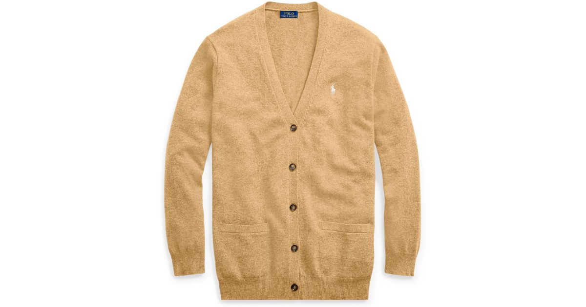 95bb3e1c4 Polo Ralph Lauren Merino Wool Boyfriend Cardigan in Natural - Lyst