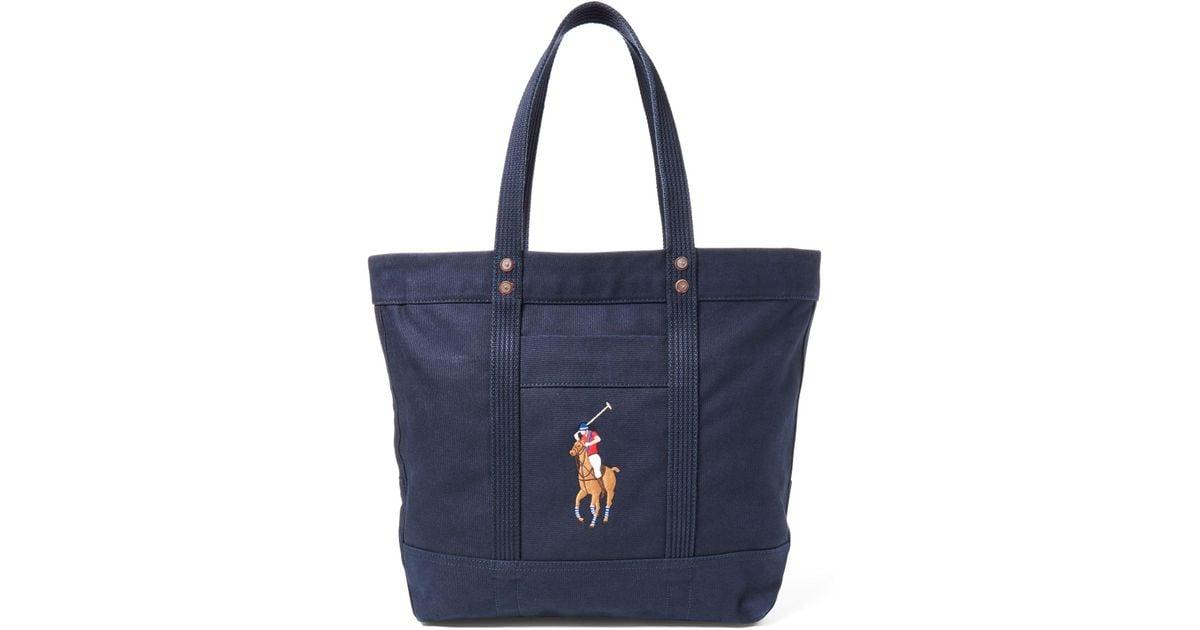 e282cf24172 Polo Ralph Lauren Canvas Big Pony Tote in Blue - Lyst