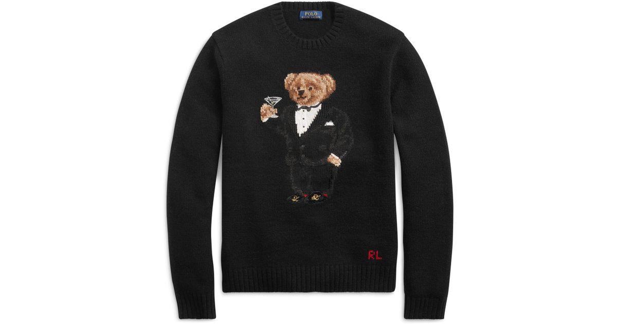 dbb878fa57ab Lyst - Polo Ralph Lauren Martini Bear Wool Jumper in Black for Men