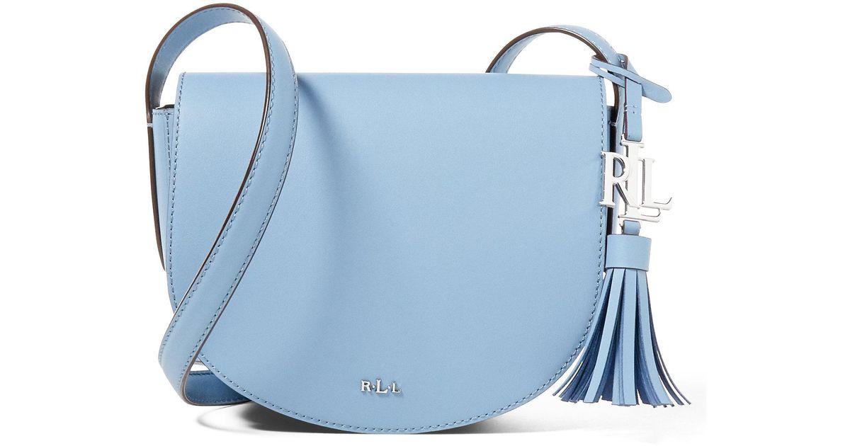 563f26f756 Lyst - Ralph Lauren Leather Mini Caley Saddle Bag in Blue