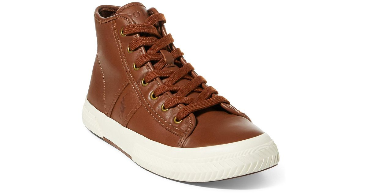 45fb584aa6 Polo Ralph Lauren Brown Tremayne Nappa Leather Sneaker for men