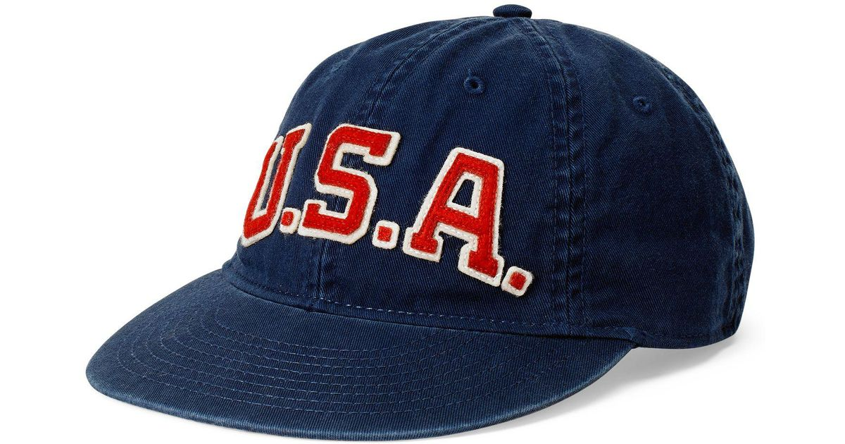 Polo Ralph Lauren Usa Chino Baseball Cap in Blue for Men - Lyst 5b17c3ae6eb