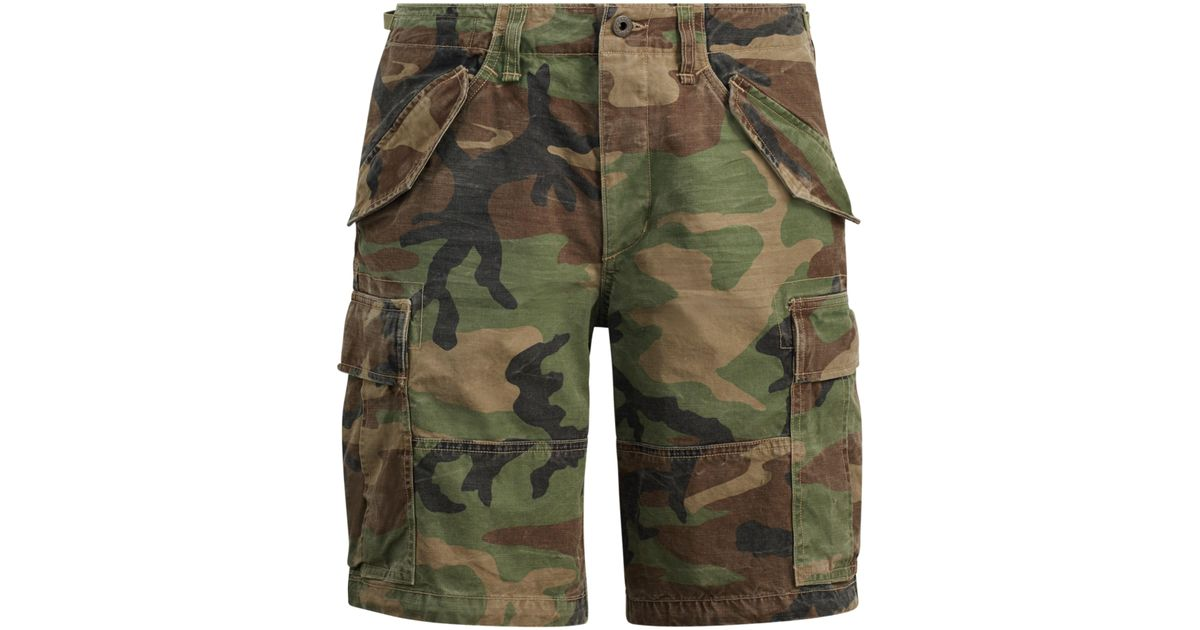 9f6a3774c1 ... reduced lyst polo ralph lauren classic fit camo cargo short in green for  men d335f 30346