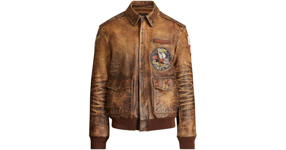For Men Lauren Brown Bomber N0oxzn8pwk Polo Leather Jacket Ralph mNw8n0
