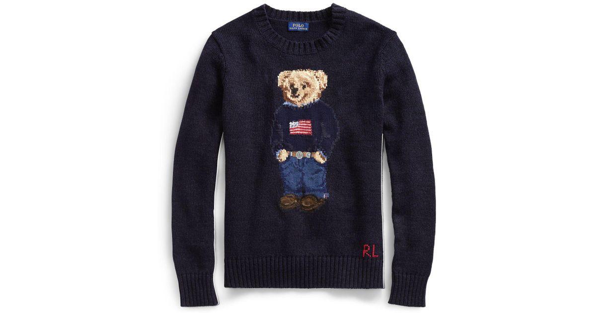 fd2237b37c43 Lyst - Polo Ralph Lauren Polo Bear Cotton-linen Sweater in Blue - Save 37%