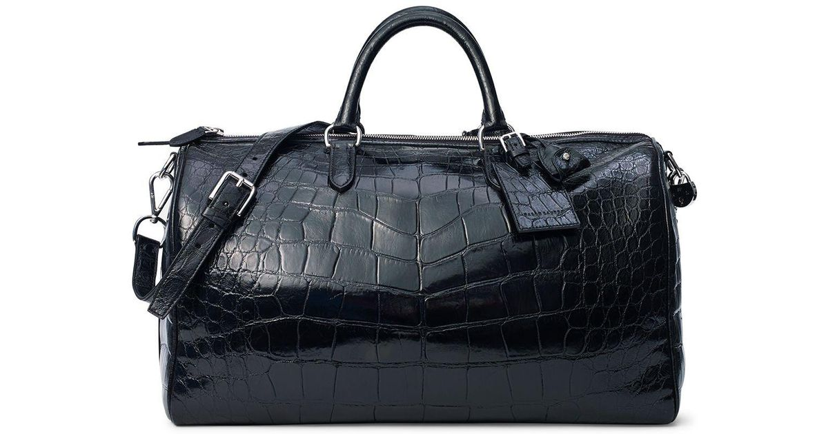 8a30cfa2a1a1 Lyst - Ralph Lauren Alligator Boston Bag in Black for Men