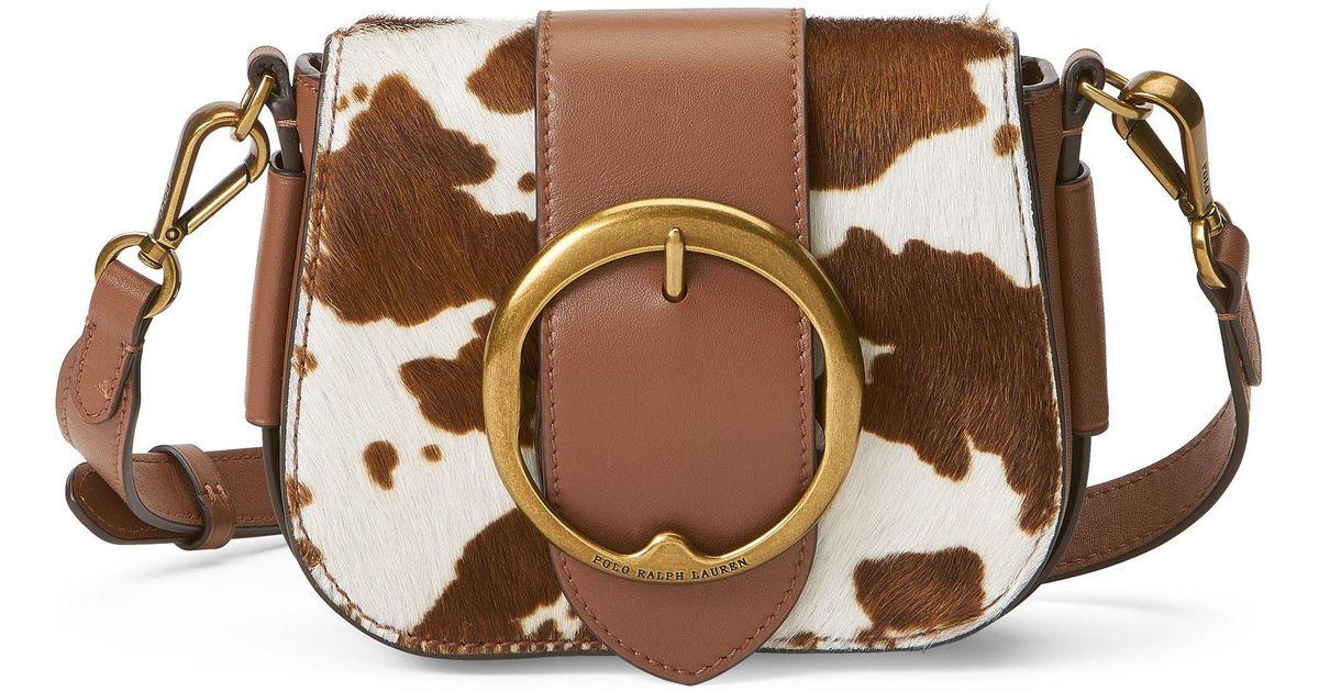 Mini sac Lennox en cuir avec poils Polo Ralph Lauren en coloris Brown