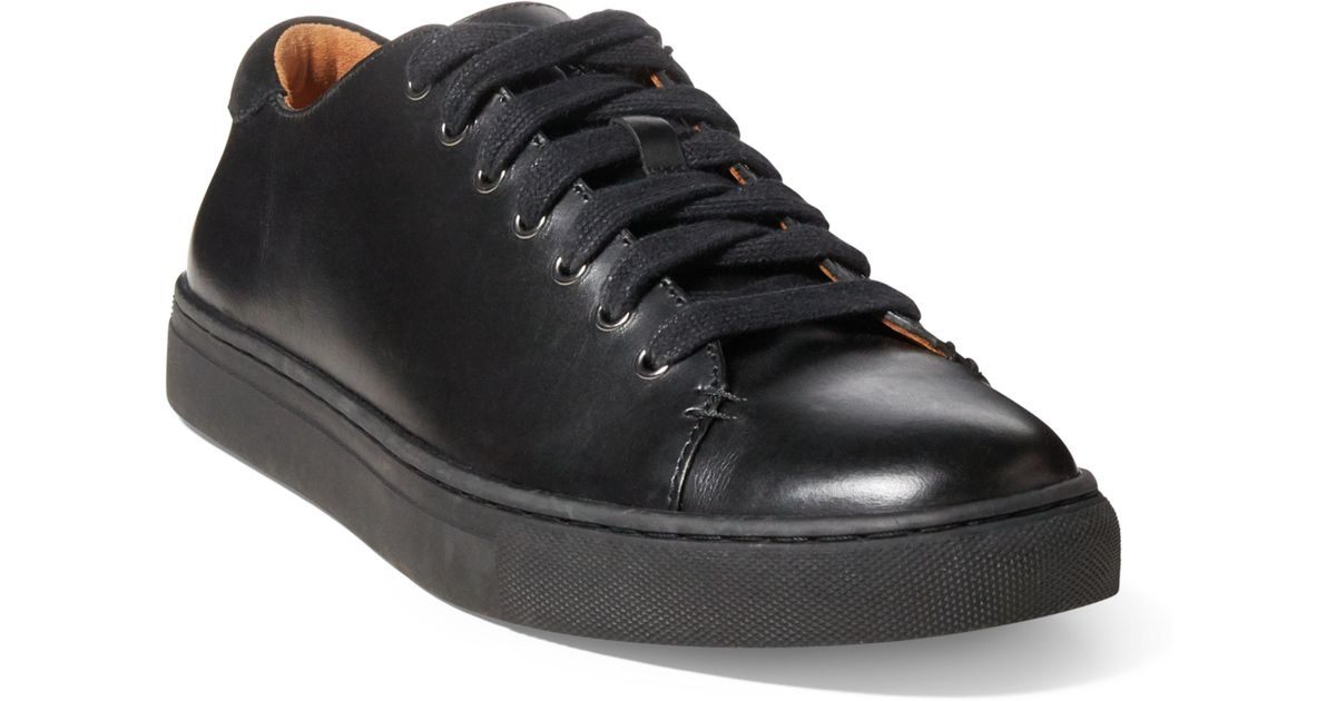 Lauren Leather Trainer Black For Men Polo Ralph Jermain 8nwXZNOP0k