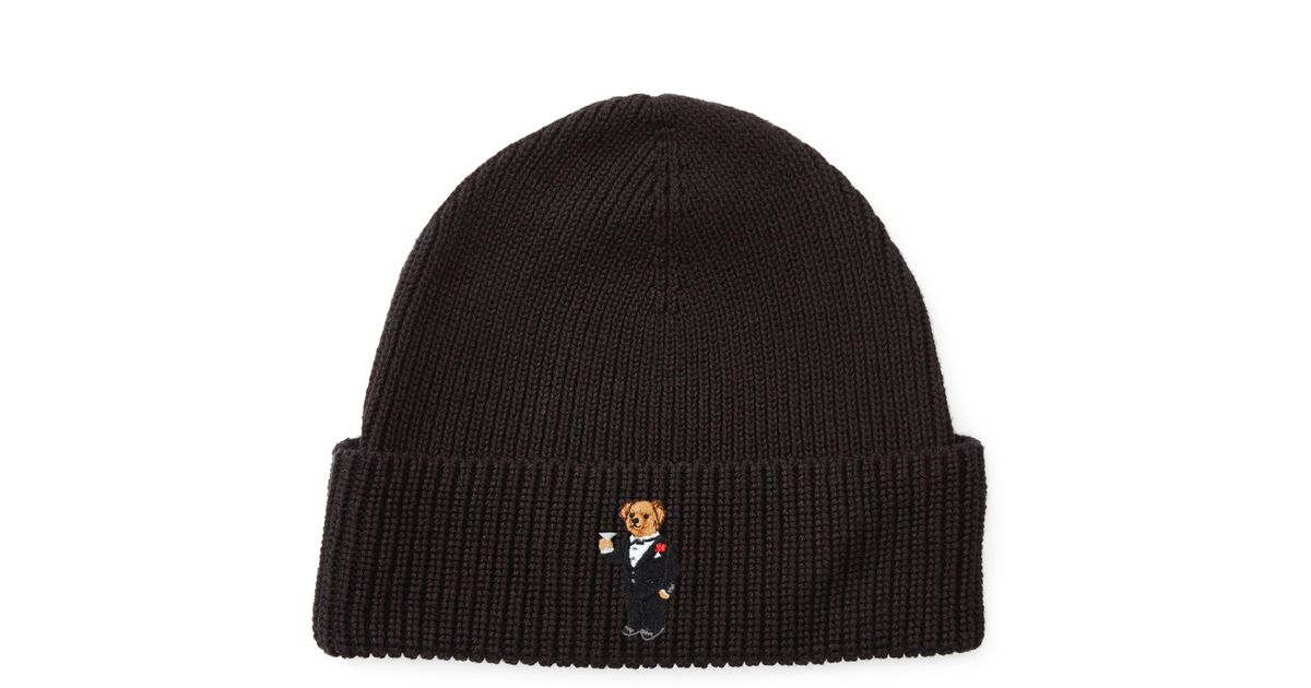 62b9aba5c32809 Polo Ralph Lauren Martini Polo Bear Ribbed Hat in Black for Men - Lyst