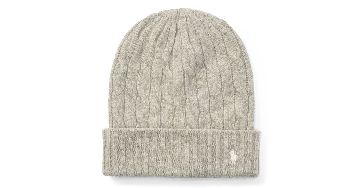 Lyst - Polo Ralph Lauren Cable Wool-cashmere Hat in Natural 4fc6322ec3d