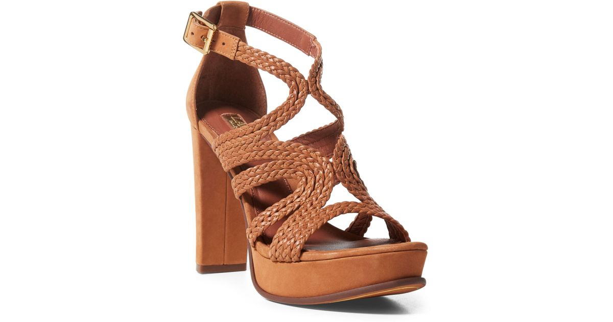 5a851d32741 Lyst - Ralph Lauren Aleena Braided Nubuck Sandal in Brown
