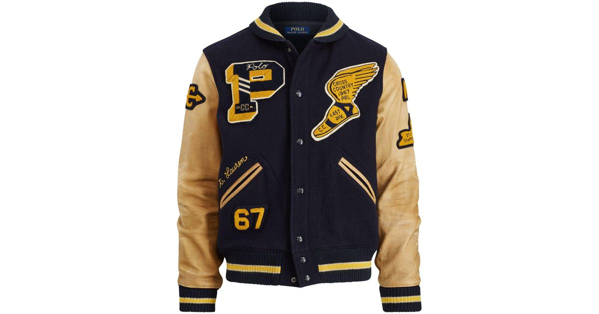 f26abb58 Polo Ralph Lauren Blue The Iconic Letterman Jacket for men
