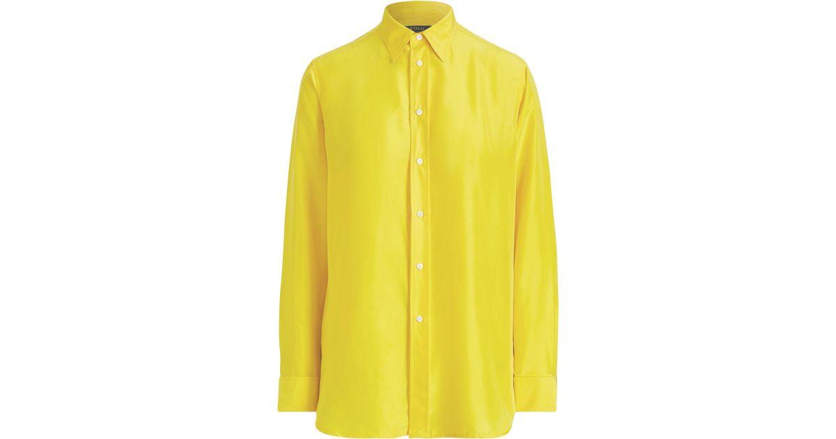 Polo Seda Color Ralph Lauren Amarillo Blusa Crepé 80wmOvNn