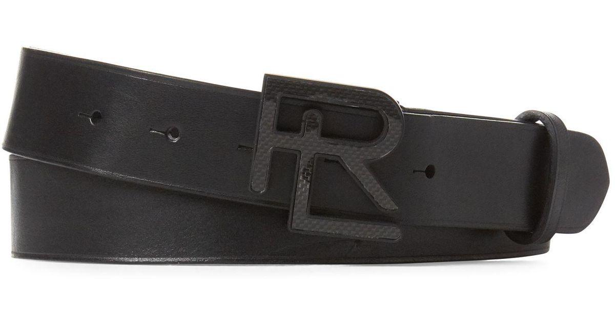 $295 Ralph Lauren Purple Label Mens Brown Leather Double Prong Buckle Belt