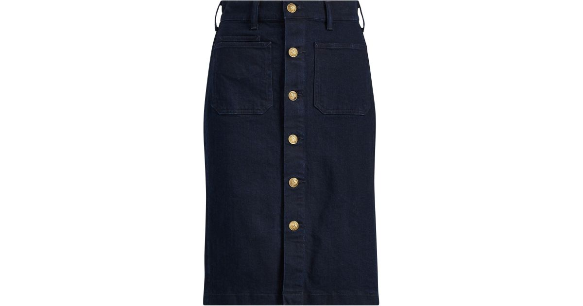 046afe80b1 Polo Ralph Lauren Stretch Denim Pencil Skirt in Blue - Lyst