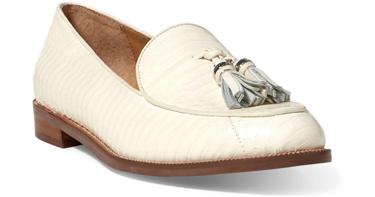 b552fbd380b Lyst - Ralph Lauren Brindy Snakeskin Loafer in Natural