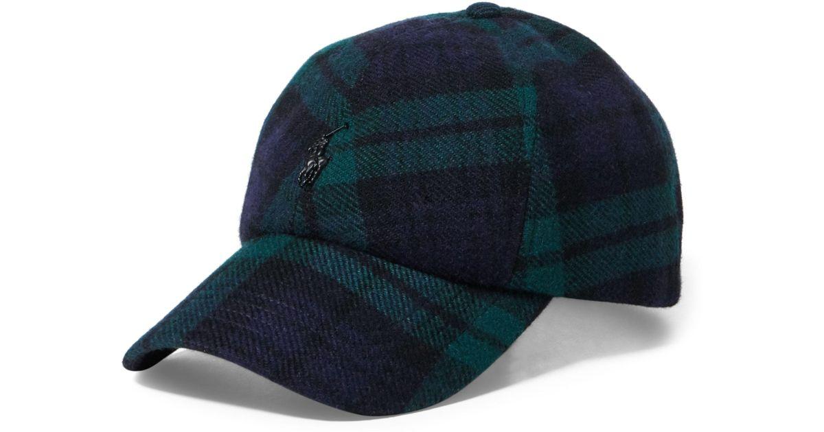 56ecfab31f Polo Ralph Lauren Blue Tartan Wool-blend Fitted Cap for men
