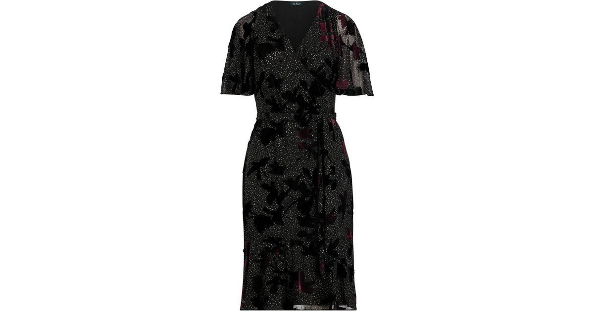 b6a81c5cec Ralph Lauren Black Velvet-trim Floral Wrap Dress
