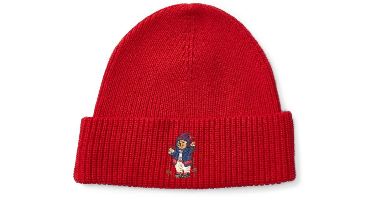 044235a65ef84 Lyst - Polo Ralph Lauren Skier Polo Bear Ribbed Hat in Red for Men