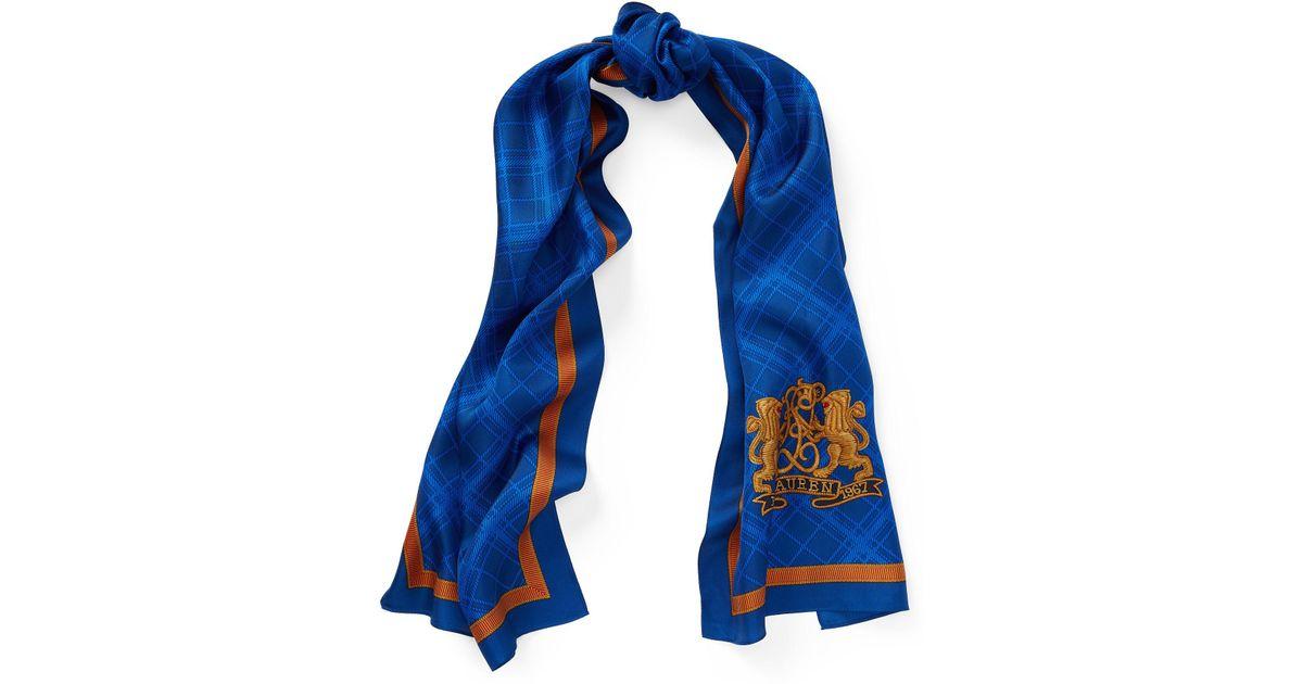 2412022b46 Ralph Lauren Blue Crest Silk Twill Scarf