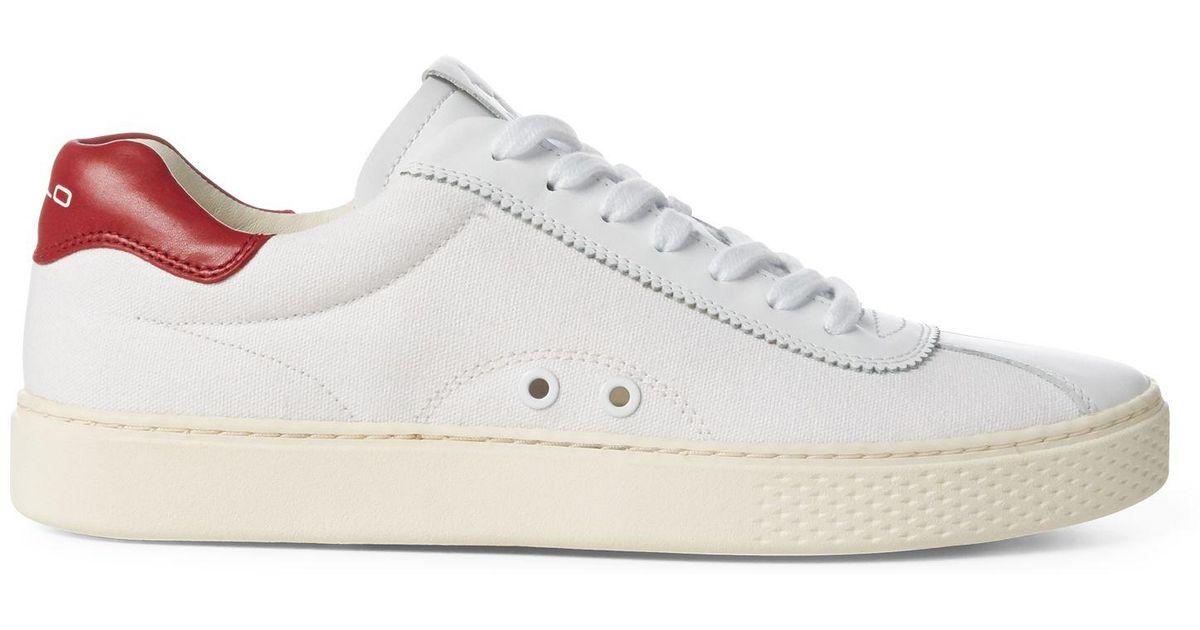 5fb69aa799 Polo Ralph Lauren White Court 100 Canvas Sneaker for men