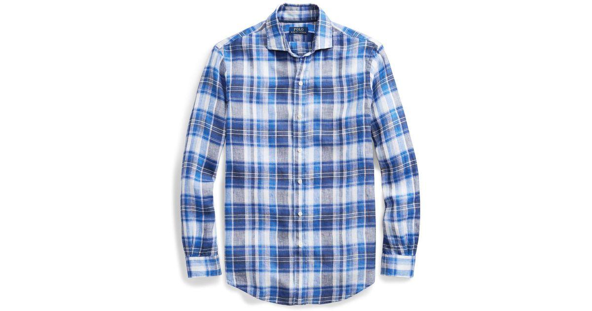 Plaid Shirt Lauren Classic Fit Polo For Men Ralph Blue Linen erdWxBoC