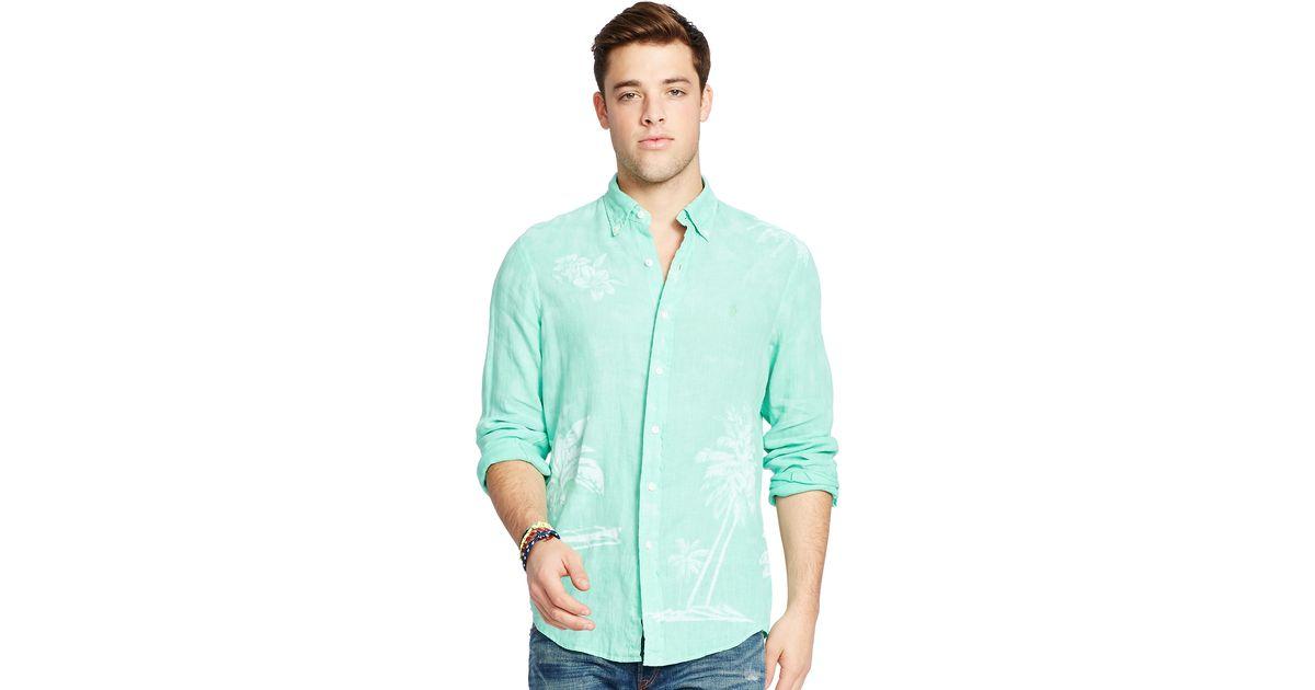 polo ralph lauren linen graphic sport shirt in blue for. Black Bedroom Furniture Sets. Home Design Ideas