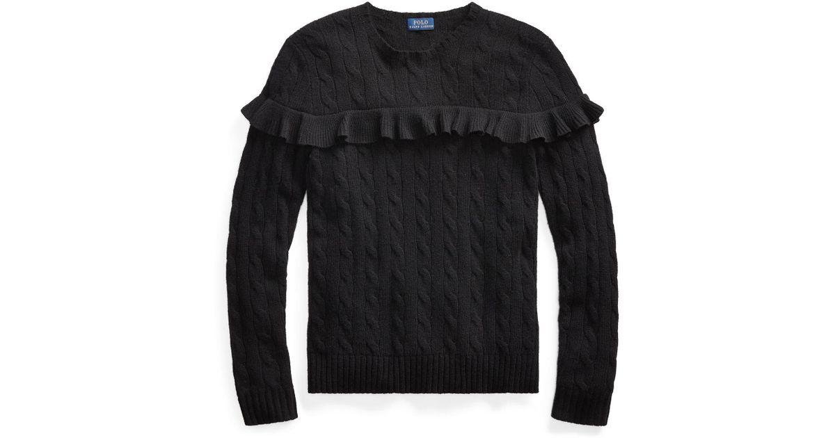 a35a2a0ef23f9d Blend Sweater Black Lyst Polo Ruffled Lauren Ralph In Wool IwBXCq