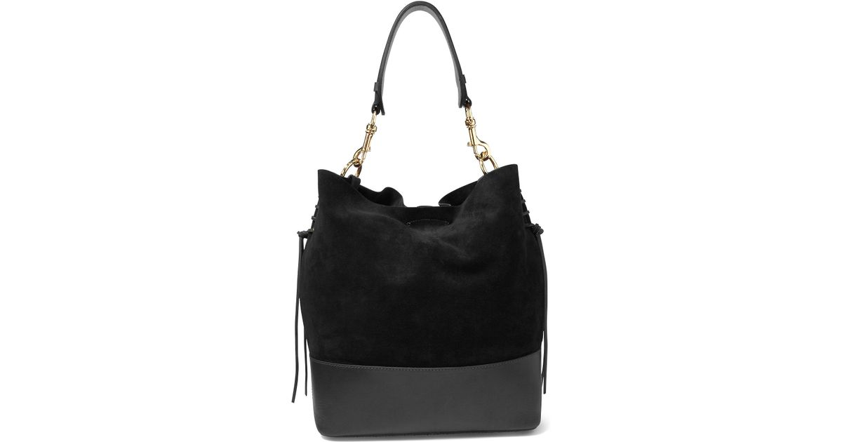 f06d8e18a0 Lyst - Polo Ralph Lauren Suede Square Hobo Bag in Black