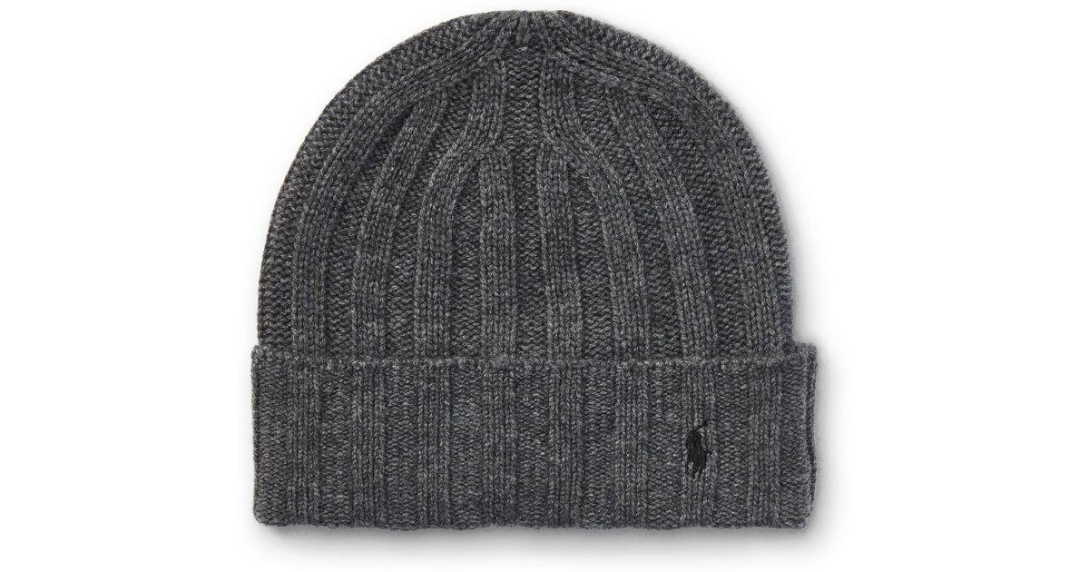Lyst - Polo Ralph Lauren Wide-rib Cashmere-wool Cap in Blue for Men 35d7e940034a