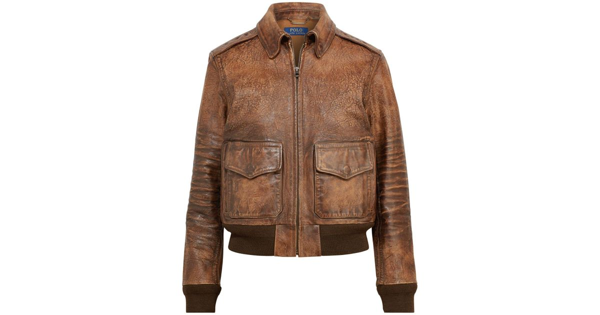 Bomber Ralph Leather Polo Painted Jacket Lauren Brown kXPZiuO